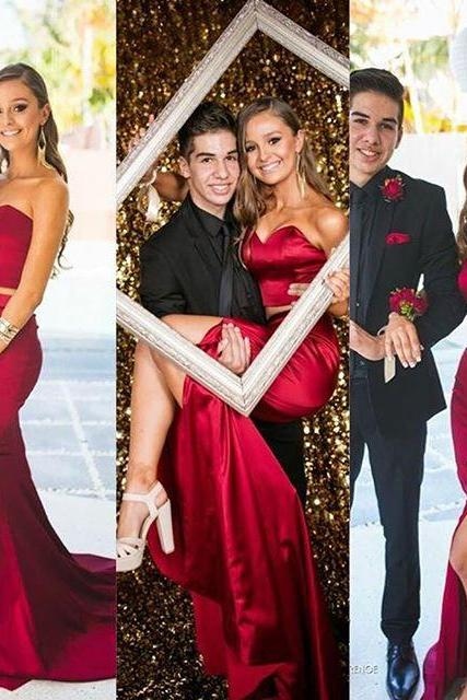 2016 Sexy Cheap Evening Dresses New Arrival Mermaid Two 2 Pieces Dark Red Satin Long Formal Prom Party Gown robes de soiree