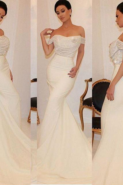 2016 Evening Dresses New Arrival Cheap Sexy Mermaid Off Shoulder Beads Crystals Formal Long Prom Party Gowns Gowns Abendkleider