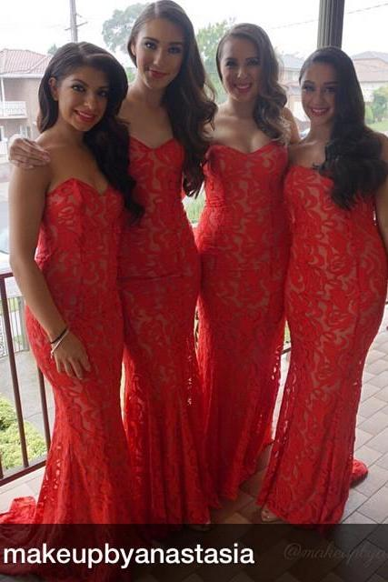 016 Bridesmaid Dresses Cheap New Arrival Mermaid Red Sweetheart Lace Long Bridesmaid Dress Brautjungfer Kleider