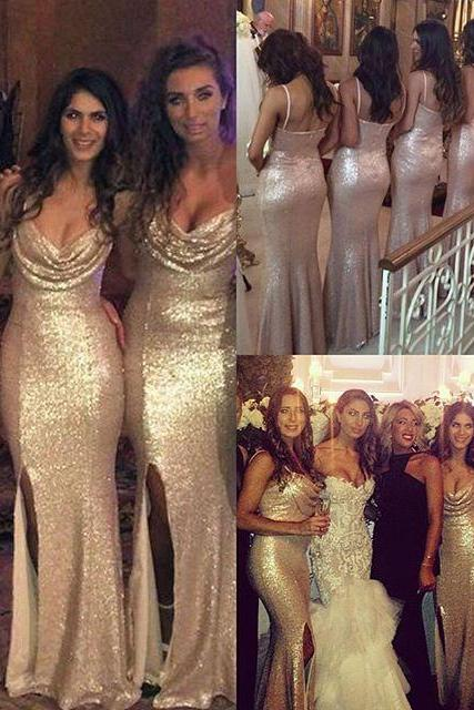 2016 Bridesmaid Dresses Cheap New Luxury Elegant Mermaid Champagne Sequins Lace Long Bridesmaid Dress Brautjungfer Kleider