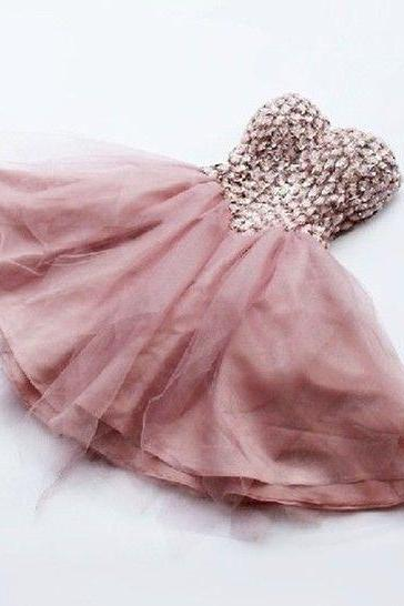Sexy A-line Prom Dresses Golden Blush Sweetheart Rhinestones Mini Short lace Up Formal Evening Party Gowns