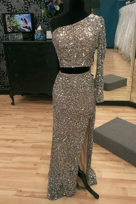 Real Iamge Prom Dresses Sexy Cheap Mermaid Bling Sparkle Luxury One Shoulder Side Slit Sequins Lace Formal Party Gowns