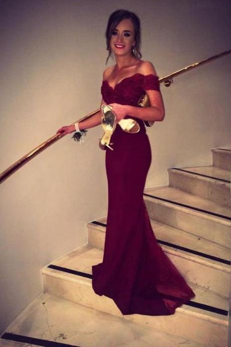 Prom Dresses New Arrival Sexy Unique Cheap Burgundy Mermaid Off Shoulder Lace Open Back Satin Prom Dress Long Formal Evening Dress Party Prom Gowns