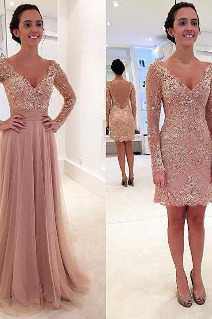 Prom Dresses New Arrival Sexy Cheap V-neck Sheer Long Sleeves Blush Backless Prom Dress Long Formal Evening Dress Party Prom Gowns