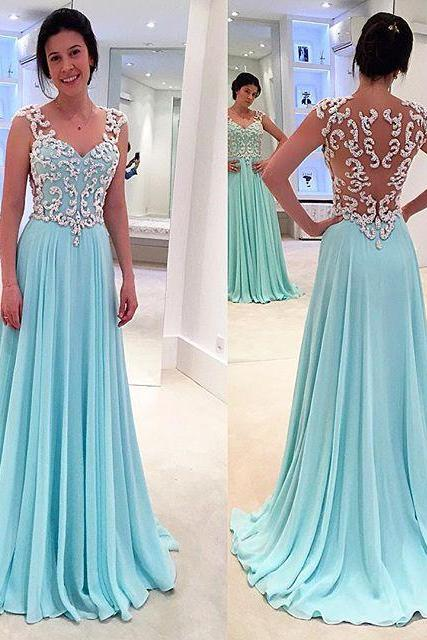 Prom Dresses New Arrival Sexy Cheap Turquoise Sheer Neck V-neck Appliques See-through Back Chiffon Prom Dress Long Formal Evening Dress Party Prom Gowns