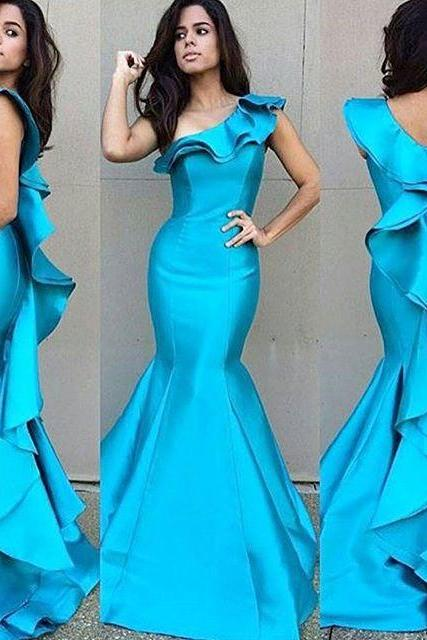 Prom Dresses New Arrival Sexy Cheap Mermaid One Shoulder Turquoise Satin Prom Dress Long Formal Evening Dress Party Prom Gowns