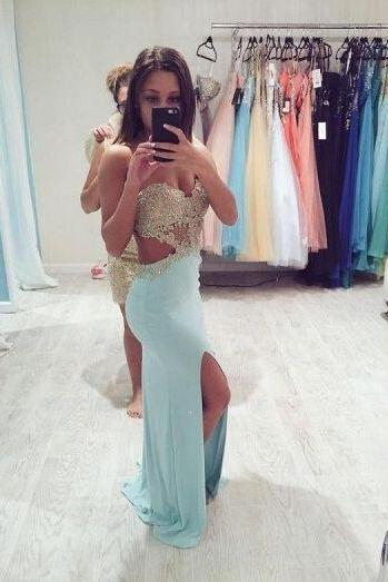 Prom Dresses Sexy Cheap Mermaid Sweetheart Backless Appliques Side Slit Prom Dress Long Formal Evening Dress Party Prom Gowns