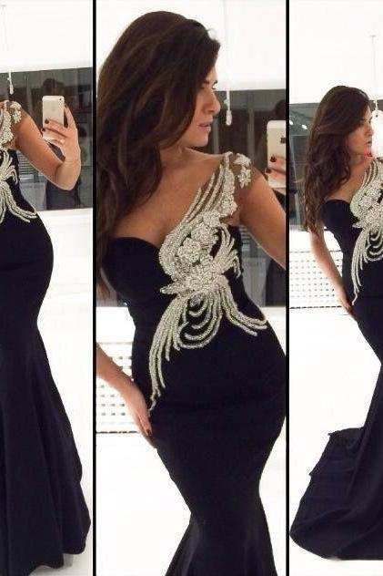 Mermaid Long Evening Dresses 2015 Sweetheart Sleeveless Backless Sweep Train 2016 Chiffon Beading Formal Dresses Evening Gown