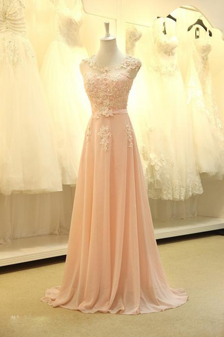 floor length formal evening dress gown new Elegant pink A-line lace chiffon maxi long dress women weddings prom party dress