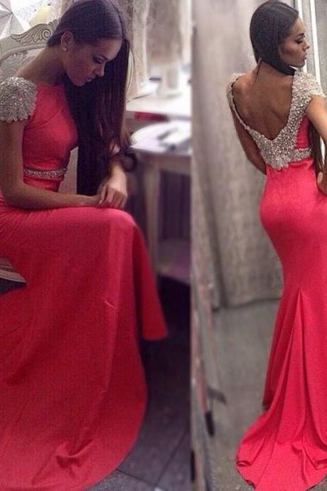 Charming Mermaid Evening Dresses 2016 Boat Neck Cap Sleeves Open Back Long Formal Prom Dress vestido longo formatura