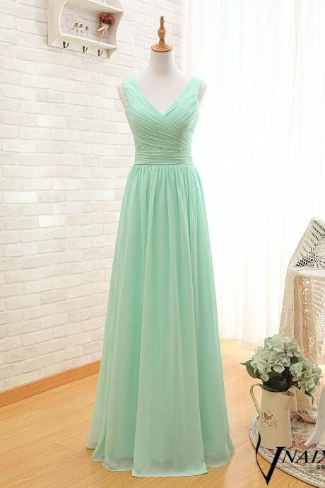 Real Photo Mint With Pleat Zipper Long Chiffon Evening Dresses Vestido De Noche