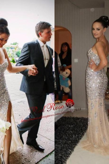 Long Mermaid Full Crystals Evening Dress Prom Dress Formal Dresses with Rhinestones Real Photo