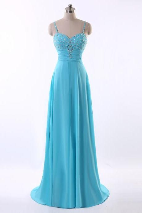 Blue Long Evening Dress Sexy Beaded A-Line Colorful Chiffon Evening Gowns New Arrival Women Formal Dresses