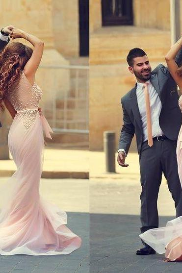Blush Pink Pearls Beaded Mermaid Evening Dress See Through Back Long Formal Gown robe de soiree