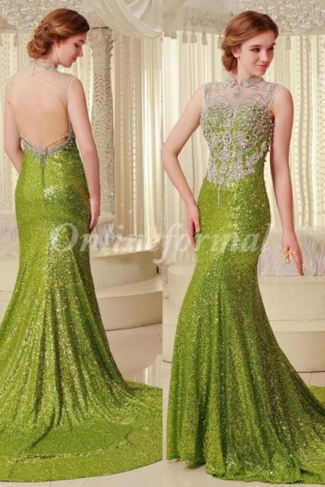 Dazzling High Neck Beaded/Crystal Fully Sequined Long Mermaid Evening Dresses 2016 Sexy Open Back Special Occasion Party Gown