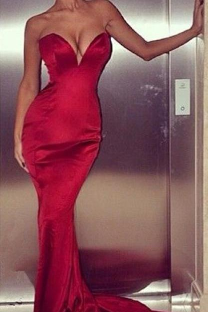 Sexy Red Mermaid Evening Dresses 2016 Sleeveless Sweetheart Zipper Plus Size Dresses For Women Long Party Gown Formal Dress