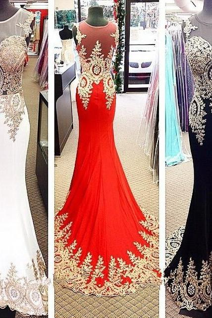 Long Prom Dresses Custom Color O Neck Sleeveless Sheath With Appliques Beaded Sexy Back Court Train Chiffon Evening Gowns
