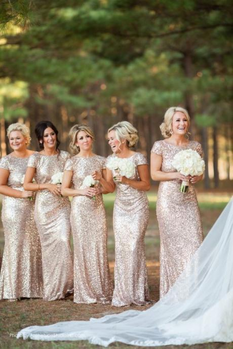 Champagne Gold Sequin Bridesmaid Dresses 2016 Hot Long Wedding Party Dress vestidos de festa vestido longo