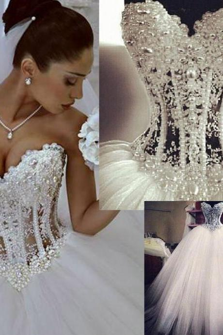 Vestido De Noiva White Strapless Romantic Wedding Dresses Ball Gown Pearls Bridal Gown Lace Up Back Tulle Wedding dress