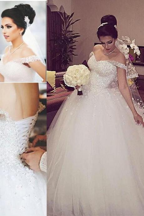 Sparkly Dubai Wedding Dress with Beading Crystals Off The Shoulder Boat Neck Handmade Flowers Lace Up Ball Gown Bridal Gown
