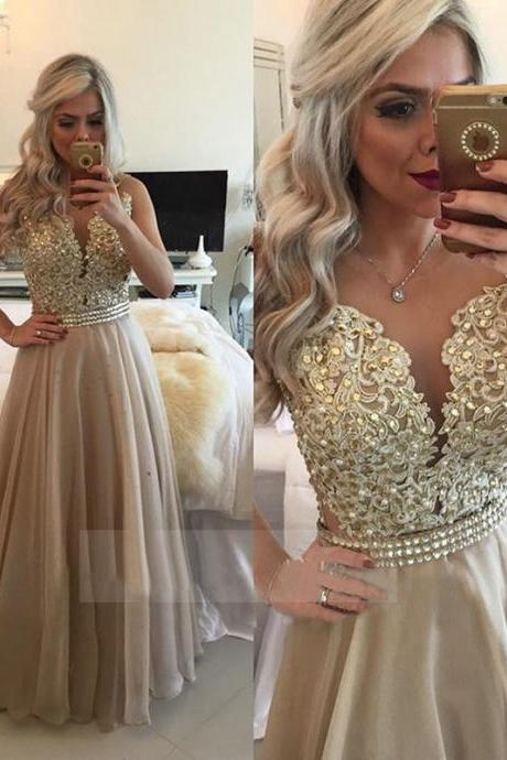 See Through Back Evening Dresses Long Organza Gold Champagne Lace Applique Formal Gowns 2016 Robe De Soiree Long