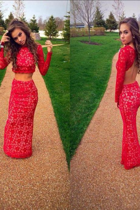 2016 Two Pieces Prom Dresses Sexy Mermaid Backless Long Sleeves Evening Gowns Floor Length Long Lace Arabic Dresses