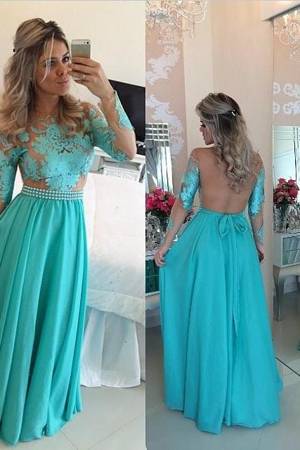 Abendkleider Langes Sexy See Through Back Long Sleeve Lace Evening Dress Turquoise Gowns