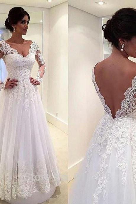A-Line Elegant White Long Sleeve Bridal Gown Open Back V-Neck Lace Plus Size Tulle Wedding Dress Custom-made