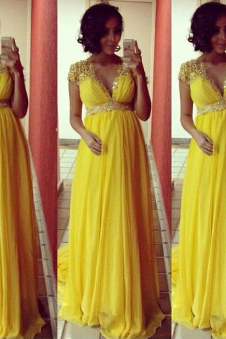 Cap Sleeve Chiffon Empire Waist Yellow Beaded V Neck Party Gowns Custom Made Maternity Pregnant Evening Dresses 2016 prom dress vestidos