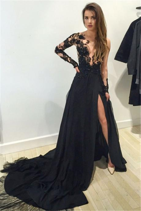 Robe De Soiree Black Long Evening Dress Scoop Neck Long Sleeve Floor Length Chiffon Slit Mermaid Prom Dresses