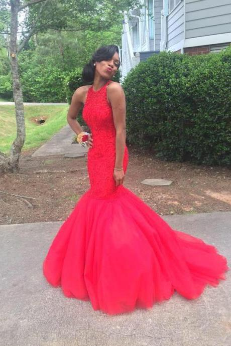 Sexy Prom Dresses Red Lace Beads Rhinestones Backless Formal Dress Evening Dress Party Dress Evening Gowns