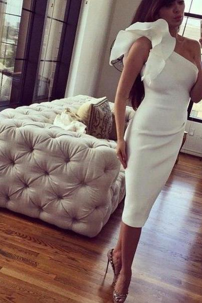 Prom Dresses Sexy Cheap Mermaid Ivory One Shoulder Prom Dress Formal Dress Evening Dress Party Prom Gowns