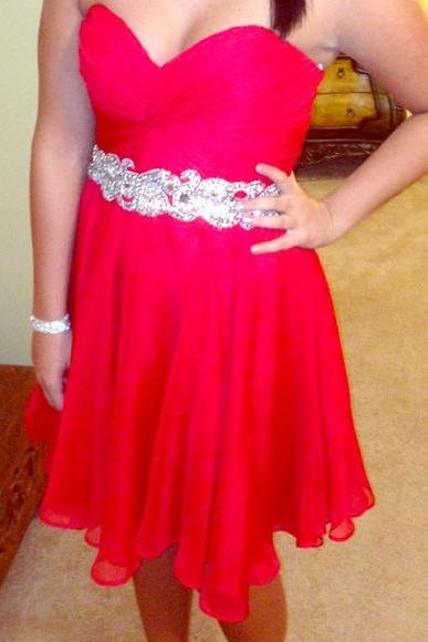 Prom Dresses Sexy Cheap Red Sweetheart Beads Mini Short Prom Dress Formal Dress Evening Dress Party Prom Gowns