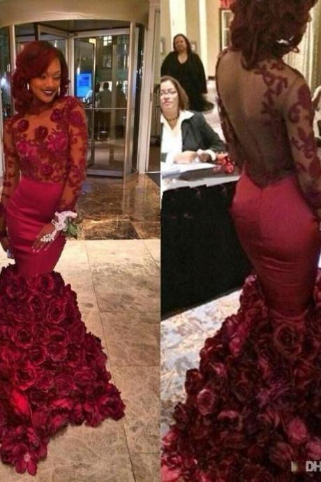 Gorgeous Prom Dress Mermaid Long Sleeves Organza Flower Red Prom Dresses Vestido De Festa A Line Lace Robe De Soiree