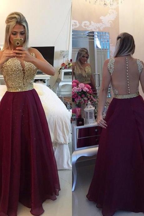 Burgundy Lace Crystal Party Gowns Sexy See Through Back A Line Evening Dresses Burgundy Prom Dress
