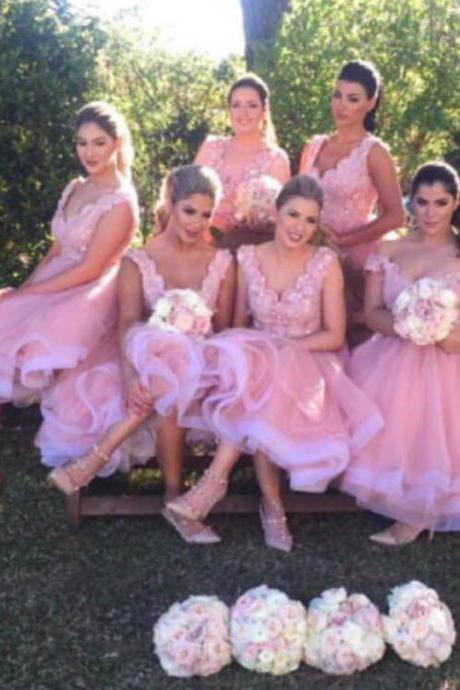 Light Pink Bridesmaid Dress, Deep V Neck Bridesmaid Gowns, Lace Bridesmaid Dresses