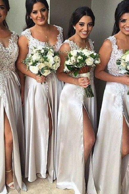 A-line V-neck Sleeveless Lace Appliqued Floor-length Silver Slit Satin Bridesmaid Dresses,Long Wedding Party Dresses
