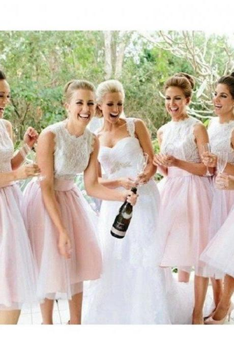 A-line Bow Embellished Sleeveless Ivory Lace Bodice Knee-length Pink Tulle Skirt Short Bridesmaid Dresses,Elegant Bridesmaid Gowns