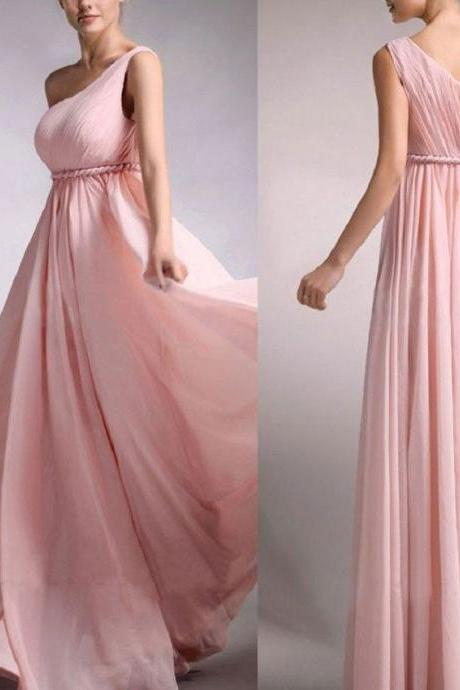 A-line One Shoulder Sleeveless Ruched Embellished Floor-length Pink Chiffon Long Bridesmaid Gowns