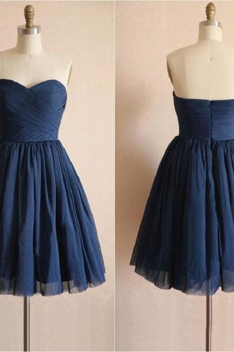 A-line Sweetheart Neck Sleeveless Strapless Mini Length Navy Tulle Short Bridesmaid Dresses,Wedding Party Dresses