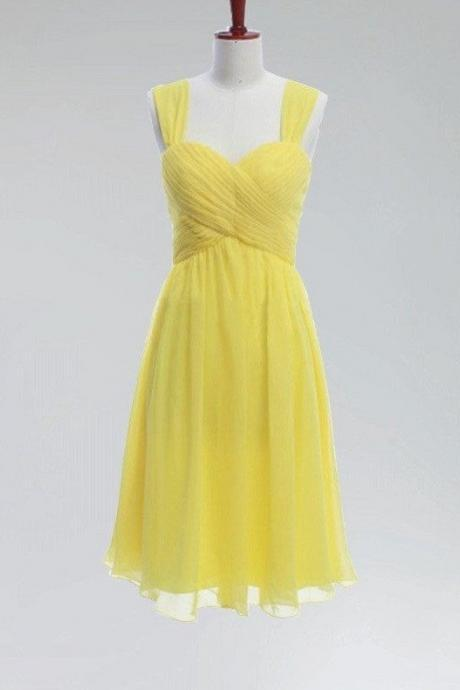 A-line Sweetheart Neck Ruched Embellished Princess Mini Length Yellow Chiffon Short Wedding Party Bridesmaid Dresses