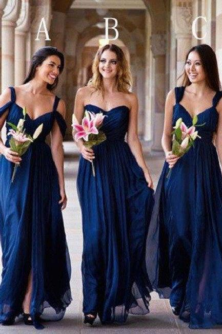 Mismatched A-line Sweetheart Neck Strapless Ruched Embellished Floor-length Dark Royal Blue Chiffon Bridesmaid Dresses,Wedding Party Dresses