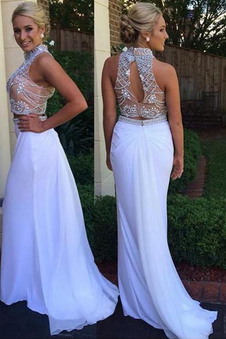 White Two Piece High Neck Open Back Sweep Train Prom Dress with Beading