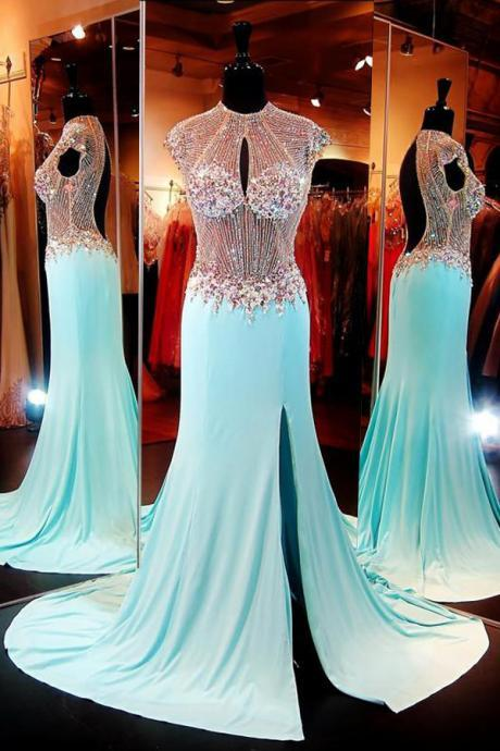 Luxuriours High Neck Baby Blue Split Open Back Sweep Train Prom Dress with Beading