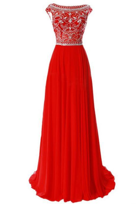 Elegant A-line Scoop Chiffon Red Long Prom Dress Evening Gowns With Beading