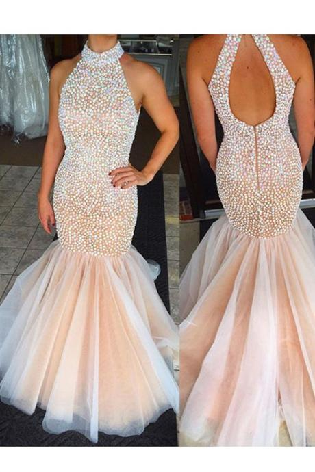 Sexy Mermaid Halter Beading Backless Long Organza Champagne Prom Dress
