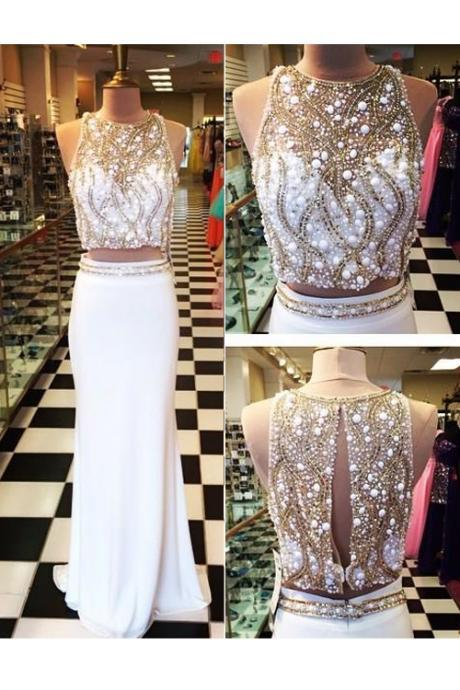 Sexy Two Piece Sheath Prom/Evening Dress White Sweep Train Elastic Satin Rhinestone