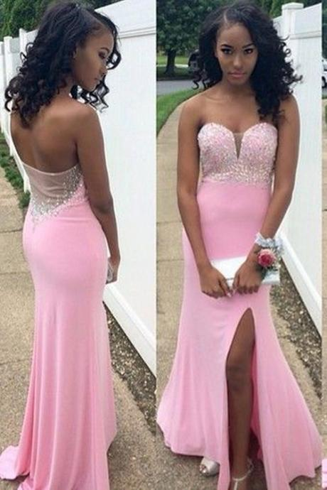 Charming Mermaid Floor Length Chiffon Pink Prom Dress With Beading