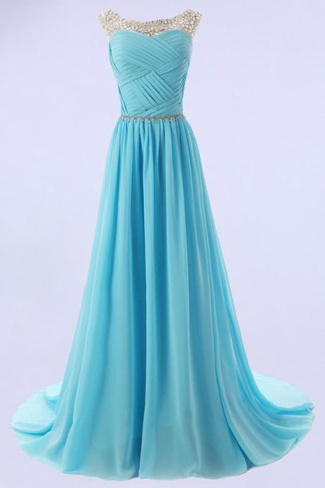 Elegant A-line Scoop Sweep-train Bridesmaid/Prom/Homecoming Dress With Beads
