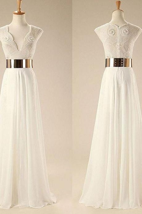 Graceful A-line V-neck Floor-length Beaded Chiffon Wedding Dress with Gold Sash